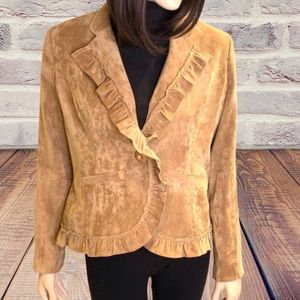 Non Pareil Ruffle Jacket Brown Suede like fabric